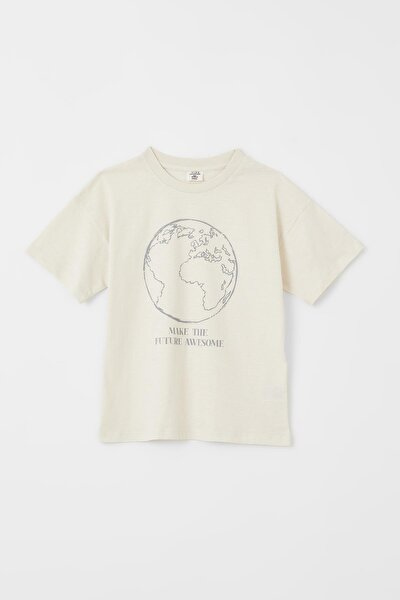 Erkek Çocuk Dünya Baskılı Organik Pamuk Kısa Kollu Tişört