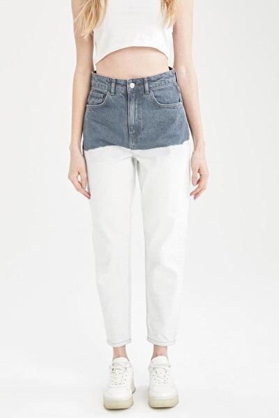 Mom Fit Yıkamalı Renk Bloklu Jean Pantolon