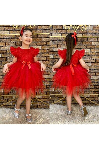Kız Çocuk Kırmızı Simli Elbise