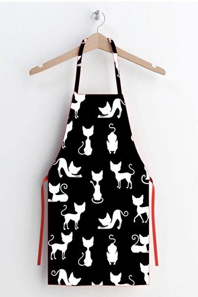 Siyah Kedi Desen Leke Tutmaz Kumaş Mutfak Önlüğü
