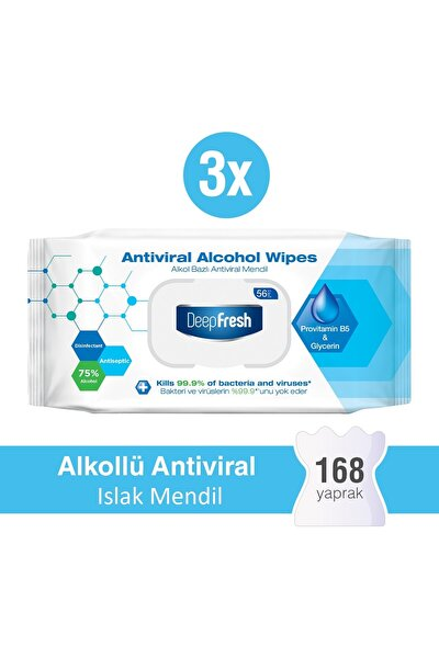 Alkollü Antiviral Islak Mendil 3 x 56 Yaprak