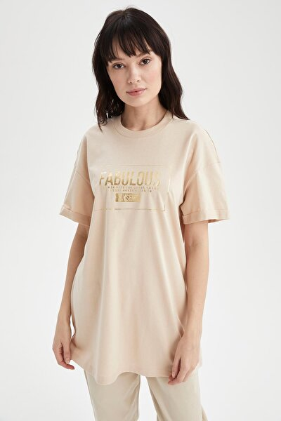 Kadın Bej Relax Fit Baskılı Kısa Kollu Tişört