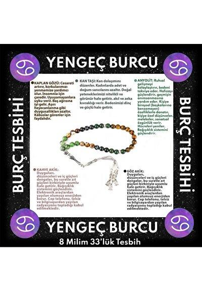 Yengeç Burcu 33'lük Tesbih Anyolit-kan Taşı-kaplan Gözü-göz Akik-kahve Akik
