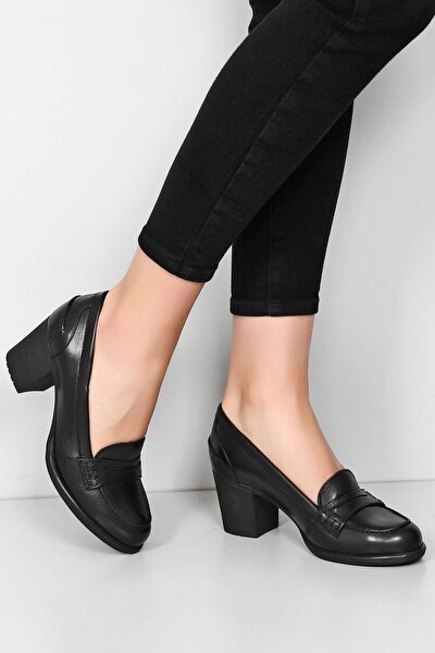 Kadın Siyah Hakiki Deri Loafer Topuklu Ayakkabı 24072