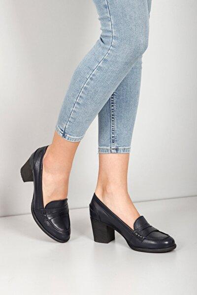 Kadın Lacivert Hakiki Deri Antik Loafer Topuklu Ayakkabı 24072