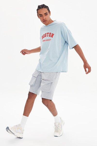 Mavi Erkek Oversize Bisiklet Yaka Kısa Kollu Baskılı T-Shirt TMNSS21TS1217