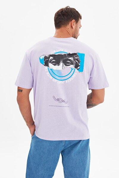 Lila Erkek Geniş Kesim Kısa Kollu Baskılı T-Shirt TMNSS21TS3668