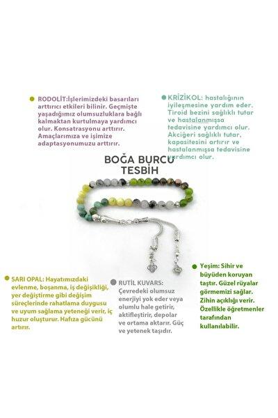 Boğa Burcu Tesbih- Yeşim-rutil Kuvars-sarı Opal-krizokol-rodolit