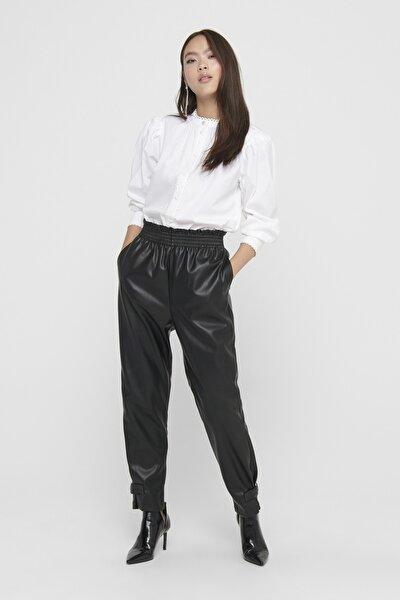 Kadın Siyah Paça Detaylı Paperbag Suni Deri Pantolon 15208701 ONLDAVINA