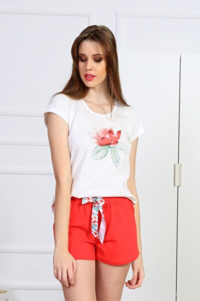 Kadın Beyaz Kısa Kol Penye Şortlu Pijama Takım