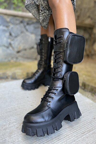 Bayan Yan Tarafı 2 Adet Cep Detaylı Fermuarlı Çizme