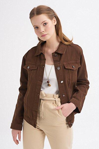 Kadın Basic Kot Ceket Koyu Kahve