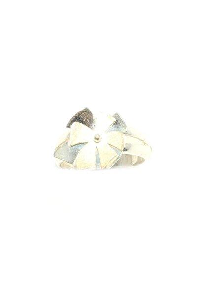 925 Ayar Gümüş Çiçek Yüzük, Beyaz