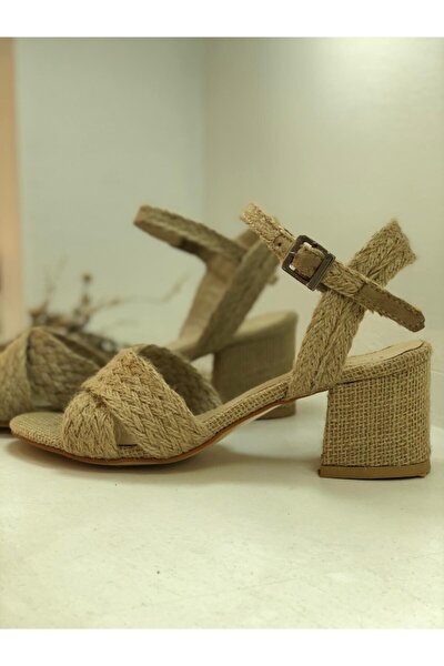 Kadın Hasır Detaylı Çapraz Alçak Topuklu  Ayakkabı