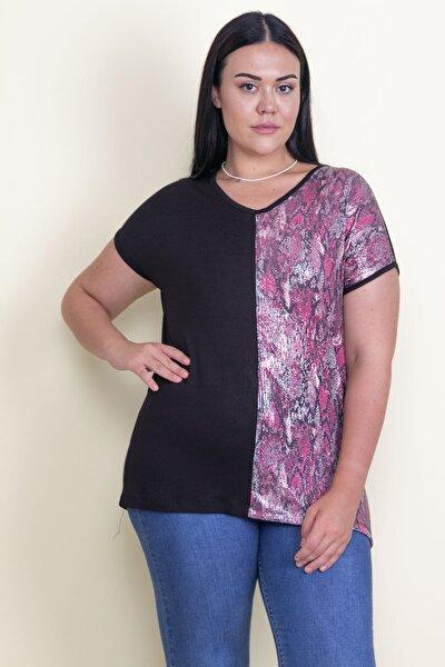 Kadın Renkli Payet Detaylı V Yakalı Bluz 65N17751