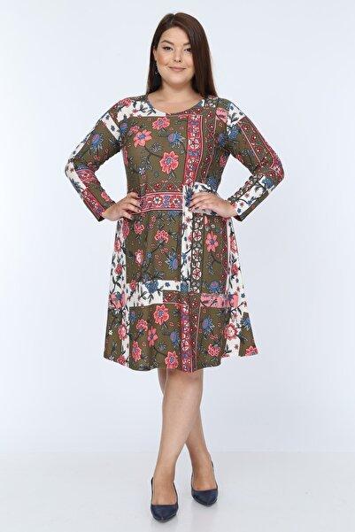 Kadın Haki Pembe Çiçek Desenli Büyük Beden Elbise