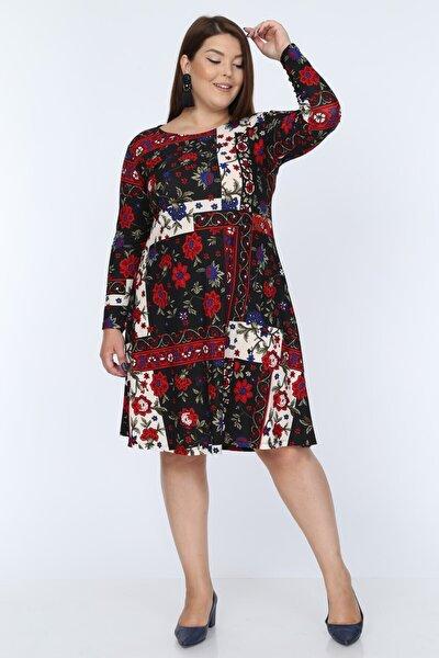 Kadın Siyah Kırmızı Çiçek Desenli Büyük Beden Elbise