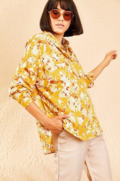 Kadın Hardal Çiçek Desenli Cepli Oversize Keten Gömlek 10111033