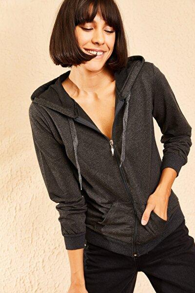 Kadın Antrasit Kapüşonlu Fermuarlı Sweatshirt Hırka 10111001