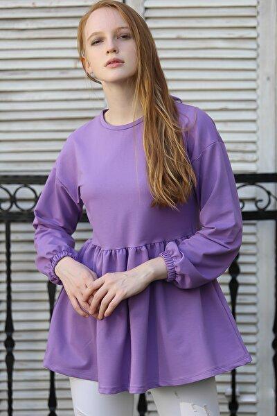 Kadın Lila Vintage sıfır yaka büzgü detaylı sırtı bağlama detaylı bluz M10010200BL96050