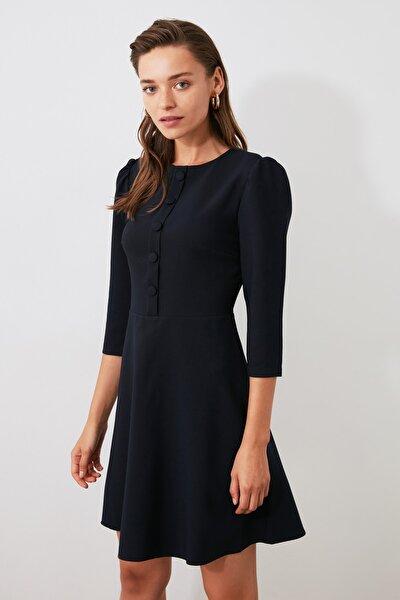 Lacivert Düğme Detaylı Elbise TWOAW21EL0734