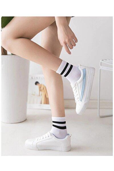 4 Çift Unisex Siyah+beyaz Çizgili Yıkanmış Kokulu Kolej Tenis Çorabı