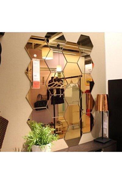Bal Peteği Gold Dekoratif Altıgen 12x Süs Akrilik Ayna 11x12,5cm Antre Duvar Pleksi Yapışkan Bantlı
