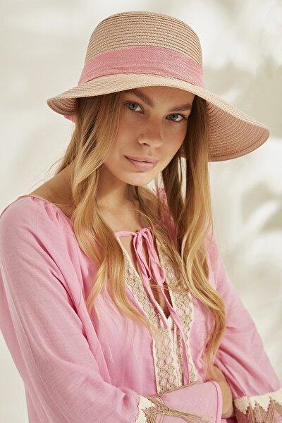 Syt Kadın Hasır Plaj Şapkası Y2730-63 Somon