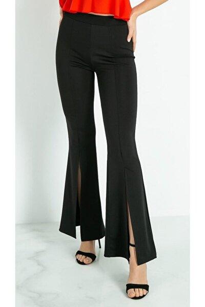 Kadın Siyah Yüksek Bel Yırtmaçlı Ispanyol Paça Tayt Pantolon