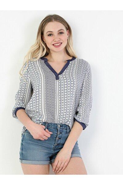 Blouse V Yaka Kadın Indigo Uzun Kol Gömlek