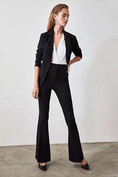Siyah Yüksek Bel  İspanyol Paça Pantolon TWOAW20PL0094