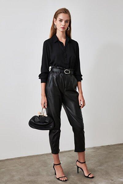 Siyah Gizli Patlı Gömlek TWOAW20GO0104