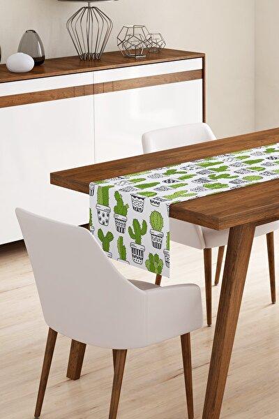Modern Yeşil Kaktüs Desen Runner