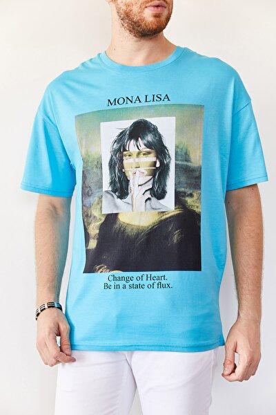 Erkek Turkuaz Baskılı Salaş T-shirt 0yxe1-44016-13