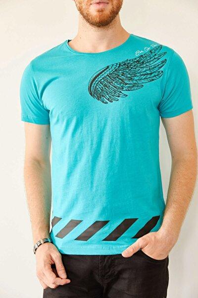 Erkek Turkuaz Baskılı T-shirt 0yxe1-44018-13