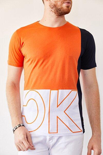 Turuncu & Beyaz Baskılı T-shirt 0yxe1-44021-11