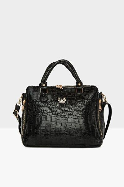 Kadın  Siyah Dik Çift Fermuarlı Askılı Çanta M000005043