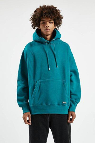 Erkek Orta Yeşil Kapüşonlu Kanguru Cepli Basic Sweatshirt 09594513
