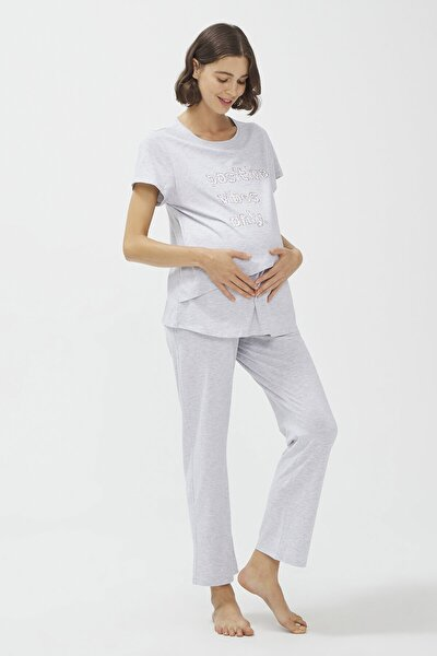 Kadın Açık Gri Melanj Lilac Mommy Hamile Pijama Takımı