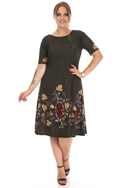 Kadın Haki Çiçek Desenli Elbise