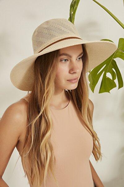 Kadın Merserize Hasır Şapka T2740-10 Bej