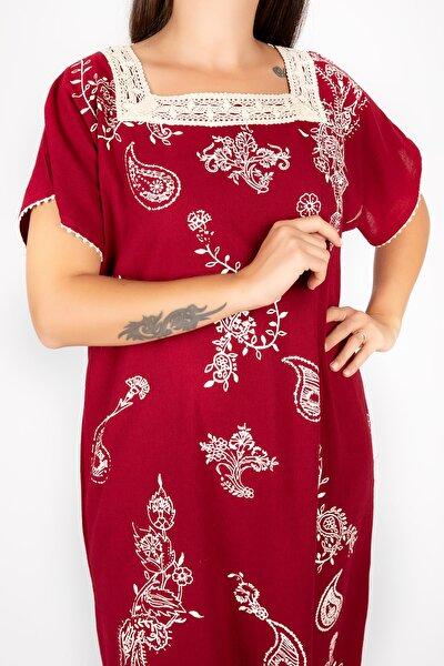 Kadın Şile Bezi Kısa Kollu Kare Yaka Bordo Elbise