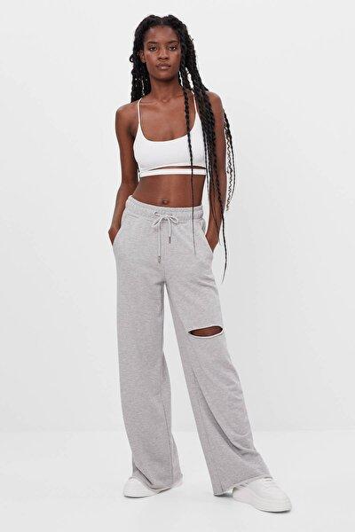 Kadın Gri Ispanyol Paça Penye Pantolon