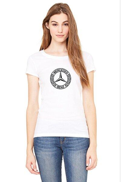 Mercedes Logo Baskılı Beyaz Kadın Örme Tshirt