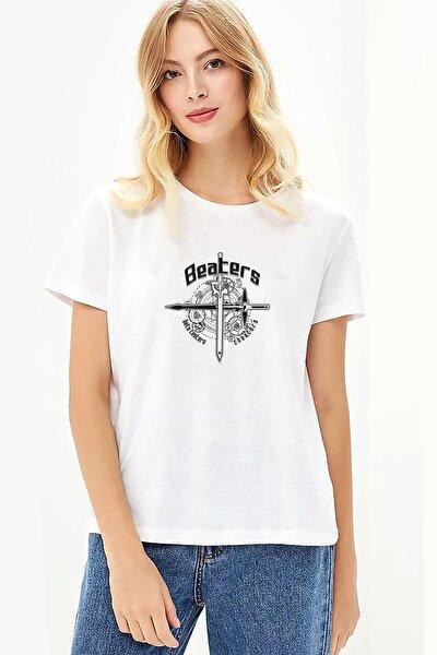 S Baskılı Beyaz Kadın Örme Tshirt T-shirt Tişört T Shirt