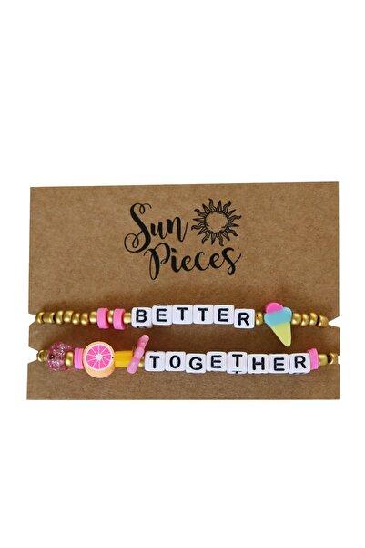 Better Together Altın Renkli Yazılı Bileklik Seti