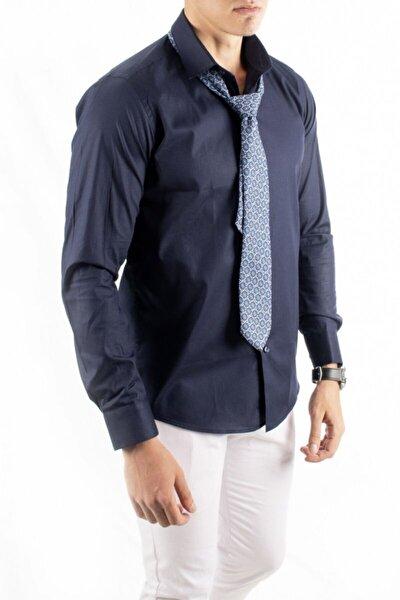 Erkek Lacivert Klasik Likralı Gömlek