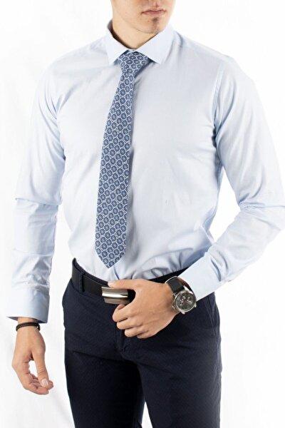 Erkek Mavi Açık Klasik Likralı Gömlek