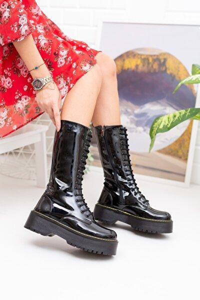 Siyah Rugan Kadın Çizme Md1025-117-0001