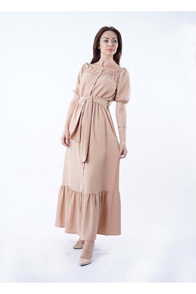 Kadın Camel Büzgülü Lastikli Düşük Omuz Elbise